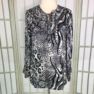 Victor Costa Silk Blouse Long Sleeves Animal Print